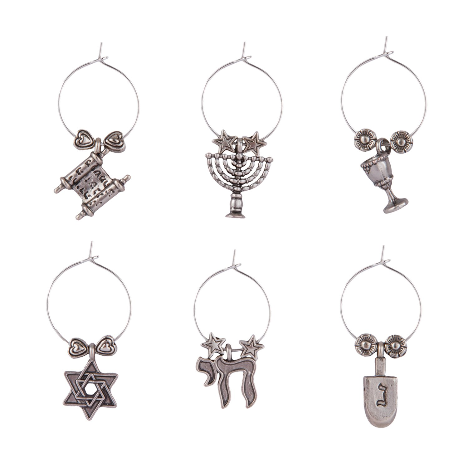 Hanukkah Wine Glass Charms (Set of 6)