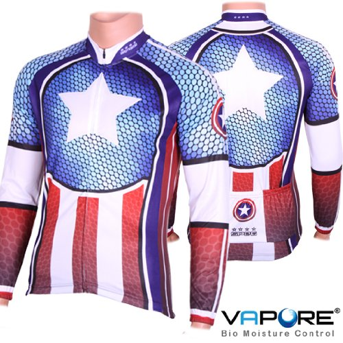 SPEG CAPTAIN STYLE AMERICA CYCLE CYCLING JERSEY USA BIKE SHIRT - LONG SLEEVE RRP $90.99