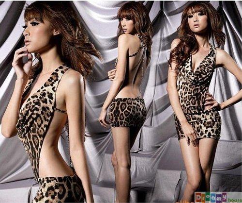 Sexy Backless Leopard Night Dress Foxy Women Lingerie Valentine Gift H20