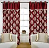 "Home Candy Eyelet Fancy Polyester 2 Piece Door Curtain Set - 84""x48"", Maroon (SOE-CUR-156_156)"