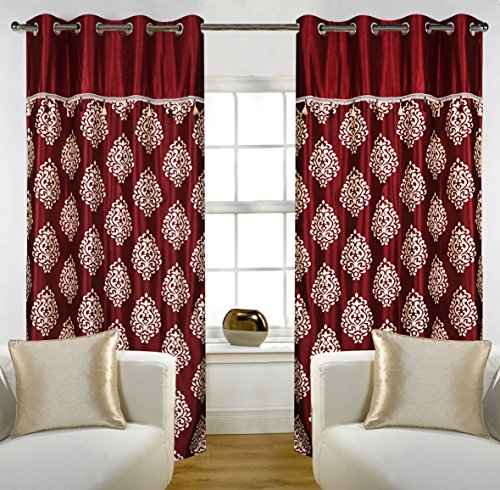 """Home Candy Eyelet Fancy Polyester 2 Piece Door Curtain Set - 84""""x48"""", Maroon (SOE-CUR-156_156)"""