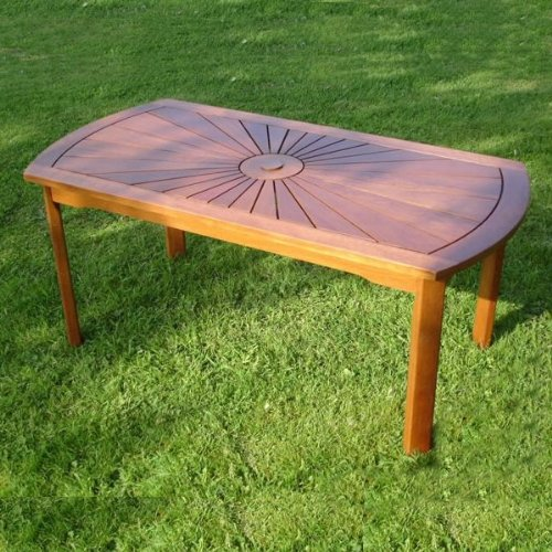 New Trueshopping Hardwood Garden / Patio Coffee Table with attractive 'Sunrise' Design made from Durable Vietnamese Hardwood Easy To Assemble
