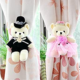GREENEARTH Drapery curtains Clip Bind for curtain drapes/panels curtain buckle curtain decoration Kids Art Craft Display- cute teddy bear couples gift ideal 2pcs(Pink)