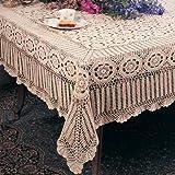 Handmade Crochet Lace Tablecloth. 100% Cotton Crochet. Ecru, 30 Inch Square. One piece .