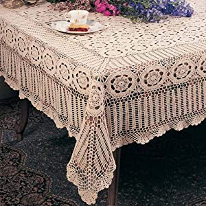 Crochet Tablecloth : Handmade Crochet Lace Tablecloth. 100% Cotton Crochet. Ecru, 72 Inch ...