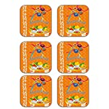 MeSleep Abstract Rakhi Wooden Coaster-Set Of 6 - B013LESTE0