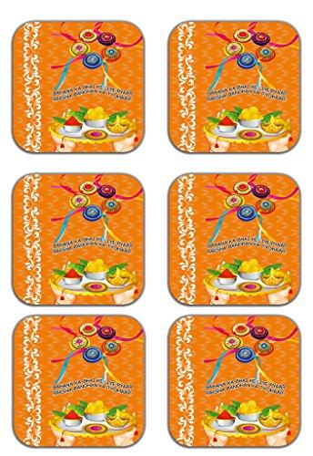 MeSleep Abstract Rakhi Wooden Coaster-Set Of 6 - B013LESTE0