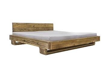Woodkings® Bett 180x200 Mayfield, Pinie, inkl. Matratze und Lattenrost, Doppelbett, recyceltes Holz, Schlafzimmer Massivholz Design Doppelbett massive Naturmöbel Echtholzmöbel gunstig