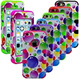 myLife Bright Pink and White - Bubble Party Series (Neo Hypergrip Flex Gel) 3 Piece Case for iPhone 5/5S (5G) 5th Generation Smartphone by Apple (External 2 Piece Fitted On Hard Rubberized Plates + Internal Soft Silicone Easy Grip Bumper Gel)