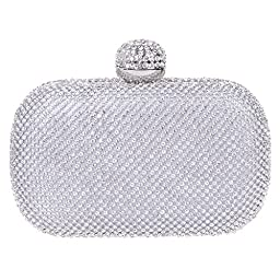 Fawziya® Ball Clasp Crystal Clutch Purse Bling Rhinestone Crystal Clutch Bag-Silver