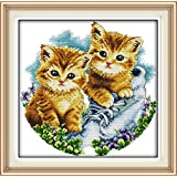 Full Range of Embroidery Starter Kits Stamped Cross Stitch Kits Beginners for DIY Embroidery with 40 Pattern Designs - Cats (Color: Be together)