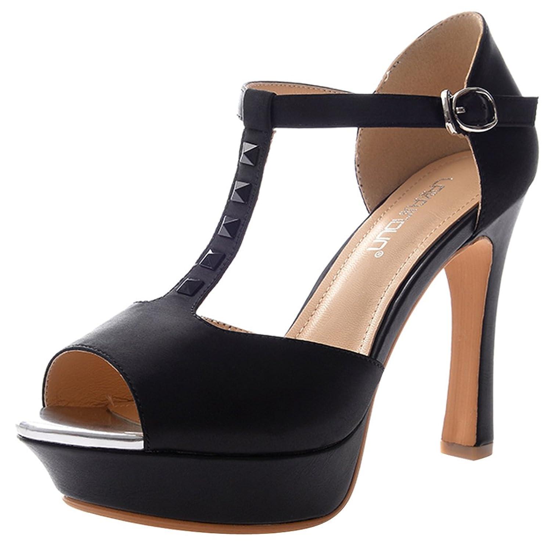 T&Mates Women's Peep-toe Sandals Thin Shoes Fashionable Pumps sdtrft plus 35 42 43 stilettos peep toe 11cm thin heels ladies sequins shoes woman gold black bling pumps sapato feminino