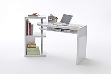 Schreibtischkombination in Hochglanz weiß inklusive Regal, Maße: B/H/T ca. 145/94/50 cm
