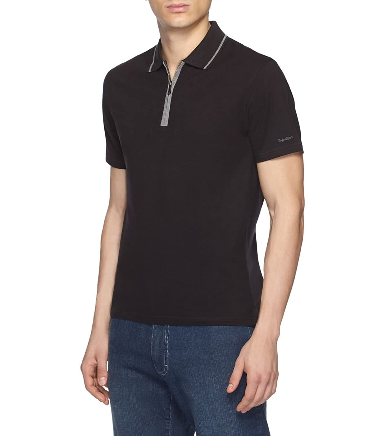 все цены на Zegna Sport Men's Black Zip Polo Stretch Cotton T-shirt в интернете