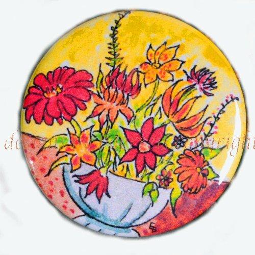 "Flat Art Purse Pocket Lipstick Mirror - ""Wild Flowers"" 2¼ Inch"