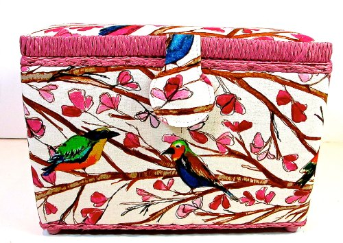 St.Jane Sewing Basket,Birds on Branches with Pink Flowers,plastic Compartment Shelf,handle,10