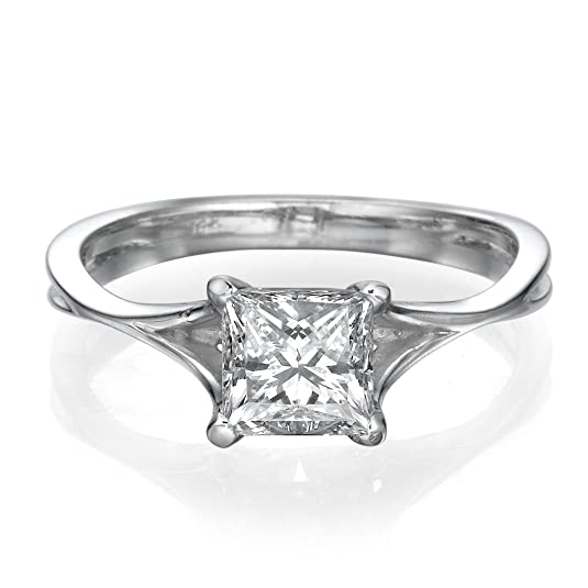 Unique Engagement Ring 0.40 CT made with 14ct White Gold Set with a H/SI1 (Clarity Enhanced) Princess Cut Main Stone