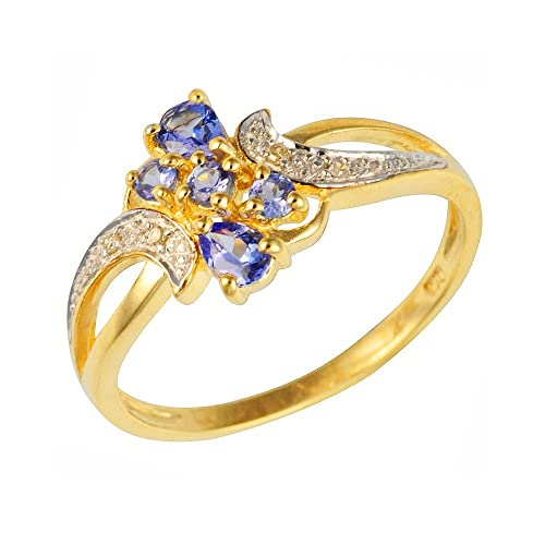 Ivy Gems 9ct Yellow Gold Tanzanite and Diamond Fancy Twist Ring Size - K