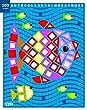 Mes petits tableaux en autocollants mosa�ques brillants - le poisson - de 3 � 5 ans
