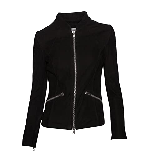 ENSO Damen Lederjacke Gipsy Bikerjacke Jacke Leder - Leder - schwarz