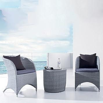 Salon de jardin en Aluminium 2 places, 2 fauteuils de relaxation et table - gris