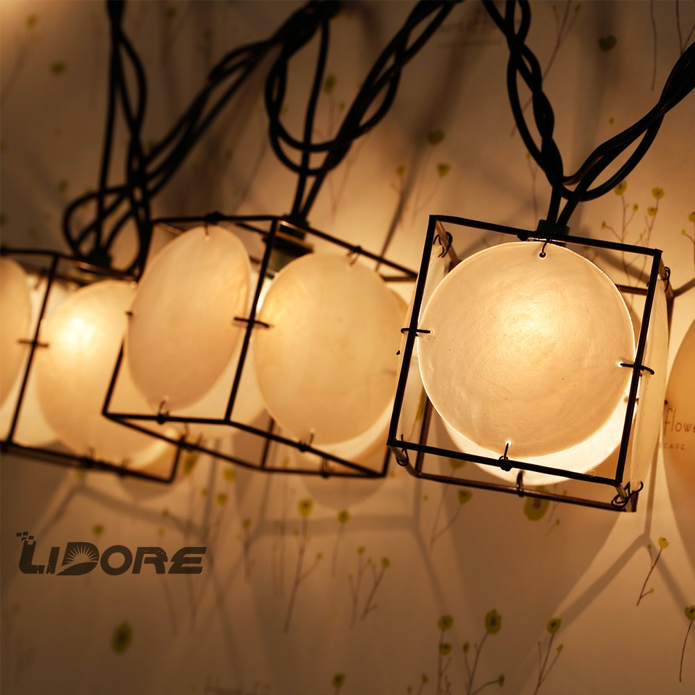 LIDORE Set of 10 Vintage style Square with Seashells String Lights. Ideal for home and simple decor 1