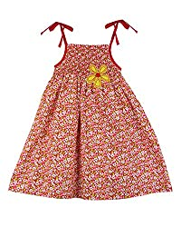 SSMITN Girls' Dress(SK2214_4-5Y, Red, 4-5Y)