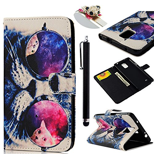 Mollycoocle Painted Fashion Style Wallet Book Case Magnetic Design Flip Folio Pu Leather Standup Cover Case With Cute Cat With Grasses Pattern For Samsung Galaxy Note 4 N9100+1X Stylus Pen+1X Dust Plug