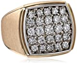 Mens 14k Two-Tone Gold with Satin Finish Detail Diamond Ring (1.50 cttw, H-I Color, I1-I2 Clarity)