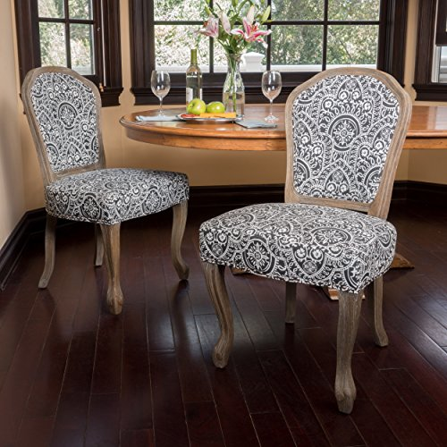 Christopher Knight Home 300253 Godfrey Dining Chair (Set of 2), Black and White Pattern
