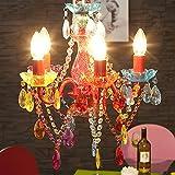 "DESIGN LAMPADARIO ""POMP"" | multicolore, acrilico, 5 lumi, Ø 40 cm | stile retrò"
