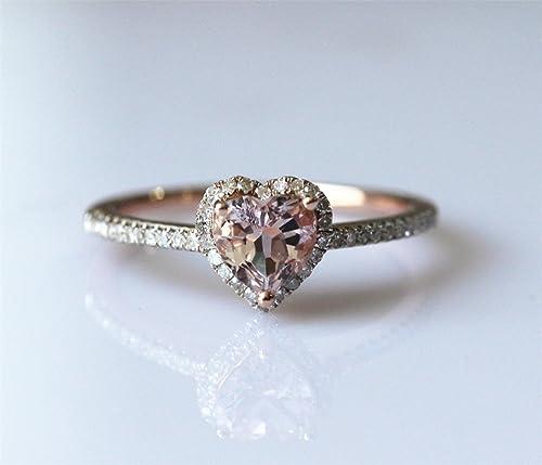 Voguegem Heart Cut Morganite and Diamond 14ct Rose Gold Engagement Wedding Ring Anniversary Ring