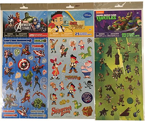 Avengers - Teenage Mutant Ninja Turtles - Jake and the Neverland Pirates - Boys Sticker Pack