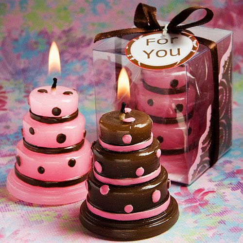 Luscious pink and brown wedding cake candle favors