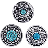 Morella® Damen Click-Button Set 3 Stück Druckknöpfe Türkis