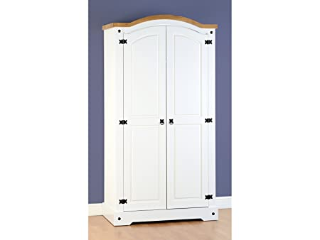 Seconique Corona 2 puerta armario en color blanco/pino encerado envejecido – arched Top