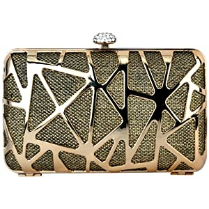 MG Collection Metallic Gold Abstract Rhinestone Clasp Box Clutch Minaudiere