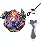 BXE Bey Battling Top BURST B-96 Shock STRIKE GOD VALKYRIE.MUGEN DX Infinity With Launcher + Grip Kids Toys Metal Plastic Fusion 4D Gift Toys For Children (Color: Multi Colored)
