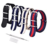 Ritche 20mm NATO Straps Nylon Watch Bands Compatible with Timex Expedition Watch for Men Women (Color: Black/Navy Red/Linen Navy/Navy White, Tamaño: 20mm)