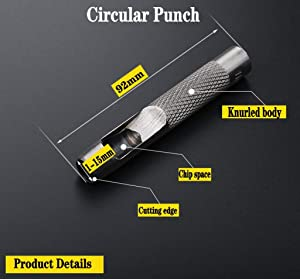 10 Pack Leather Hole Punch Cutter Heavy Duty Hollow Punch Set for Watch Band, Leather, Gasket Belt, Fabric, Canvas Clothes, Eyelet(1-10mm) Round Hollow Hole Punch Cutter Tool (Tamaño: 1-10)