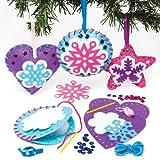クリスマス スノーフレーク フェルト 手作りオーナメントキット(3個入り) 子供のたちの簡単な手芸やディスプレイに