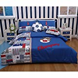 Louis Tommy Pure Cotton Cool Football Boys Embroidery Bedding Set,blue (3, Twin)