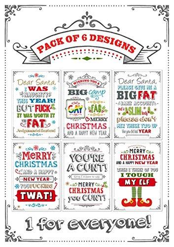 Humour-Adulte-funny-de-cartes-de-Nol-Lot-de-6-Designs
