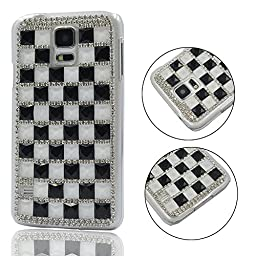 Galaxy S5 Case, TURF Extreme Series Deluxe 3D Bling Handmade Crystal Rhinestone Diamond Hard Back Cover for Samsung Galaxy S5 (Black and White)