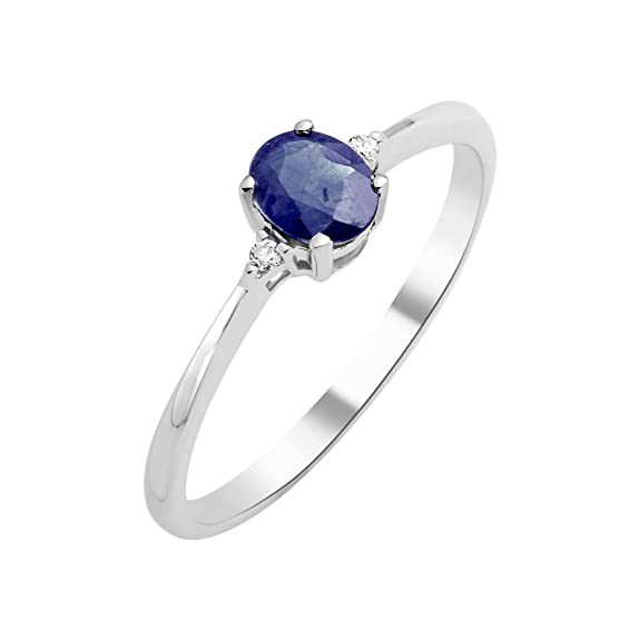 Engagement Ring Solitaire 9 ct White Gold and Sapphire T54-MKW9002R4 - Size N
