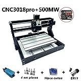 CNC Milling Machine CNC 3018 Pro Milling Machine CNC 3018 Pro GRBL Control DIY Mini CNC Machine 3 Axis Mini DIY Wood Router CNC Engraving Machine + ER11 + 5mm Extension Bar 500MW Laser (Tamaño: 500MW Laser)
