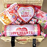 Love Hearts Sweets Valentine's Hamper - Romantic Swizzels Matlow Love Hearts, Squashies, Heart Tin, Dip and Mini Rolls - Romantic Lover's Gift - By Moreton Gifts