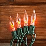 Flickering Flame String Lights, 25 Outdoor C7 Bulbs, 25 Foot Green Wire, End to End Connectable, Holiday Lighting, Event Lighting, Patio, Incandescent, PINK