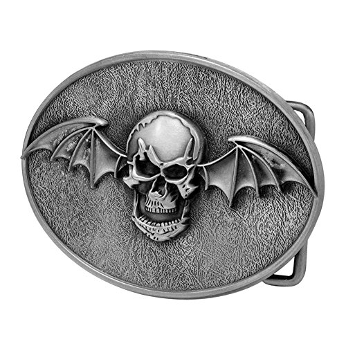 Buckle Rage Adult Mens Winged Skull Bat Demon Gothic Oval Belt Buckle Silver