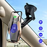 HOCO Qi Wireless Car Charger Stand Automatic Infrared Clip Air Vent Mount Car Phone Holder Quality Glass Surface 15W Fast Charger for iPhone Xs Max XR for Samsung S10/S9/S8/Note 8 (Gold) (Color: gold)